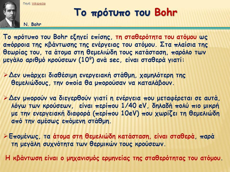 Το πρότυπο του Bohr εξηγεί επίσης, τη σταθερότητα του ατόμου ως απόρροια της κβάντωσης της ενέργειας του ατόμου.