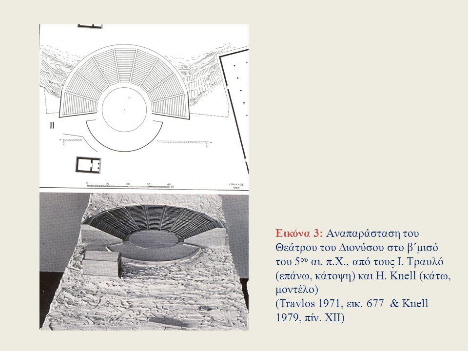 Εικόνα 2: Η πρώιμη αρχιτεκτονική μορφή του θεάτρου του Διονύσου, κατά την αναπαράσταση του Ε.