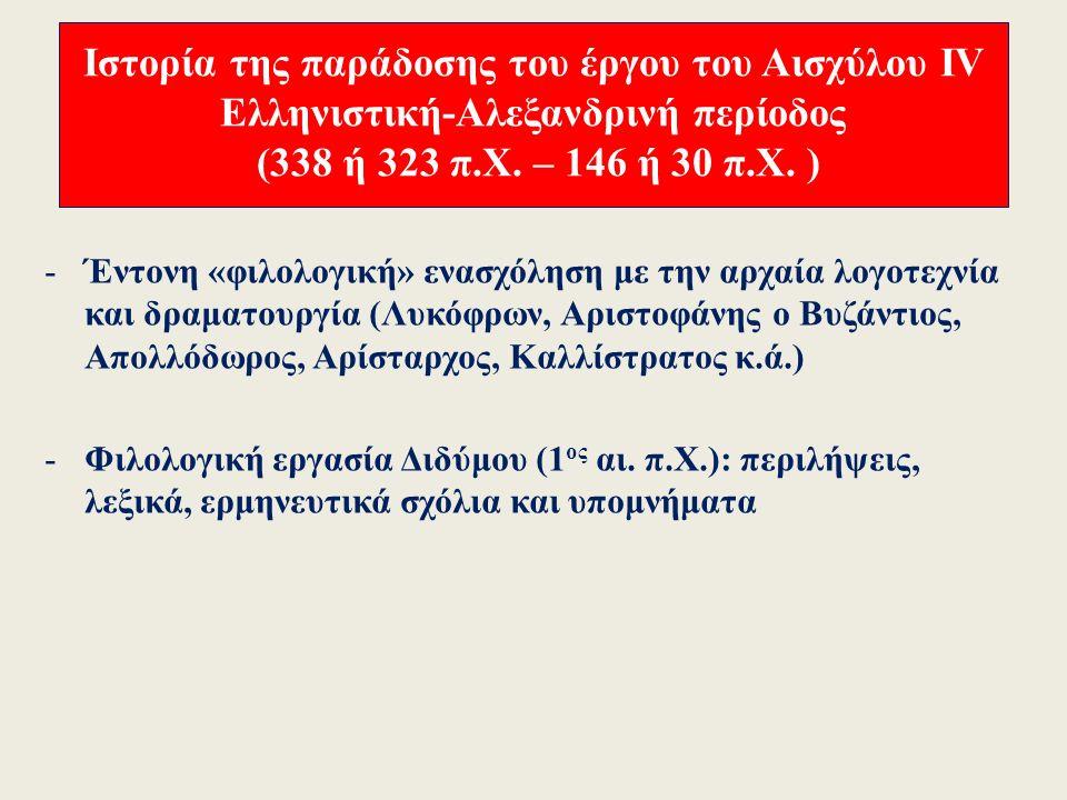 Ιστορία της παράδοσης του έργου του Αισχύλου ΙΙΙ Ελληνιστική-Αλεξανδρινή περίοδος (338 ή 323 π.Χ.