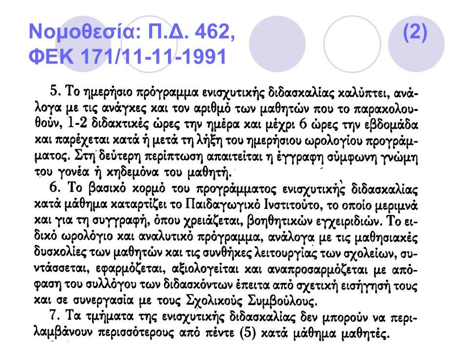 Νομοθεσία: Π.Δ. 462, (2) ΦΕΚ 171/11-11-1991