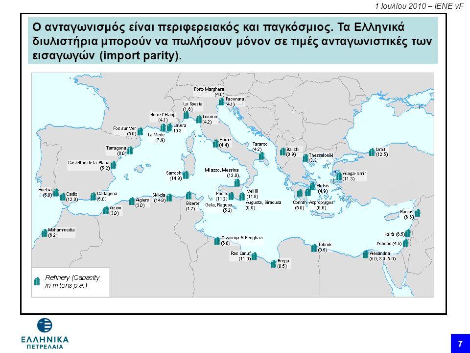 1 Ιουλίου 2010 – ΙΕΝΕ vF 7 Ο ανταγωνισμός είναι περιφερειακός και παγκόσμιος. Τα Ελληνικά διυλιστήρια μπορούν να πωλήσουν μόνον σε τιμές ανταγωνιστικέ