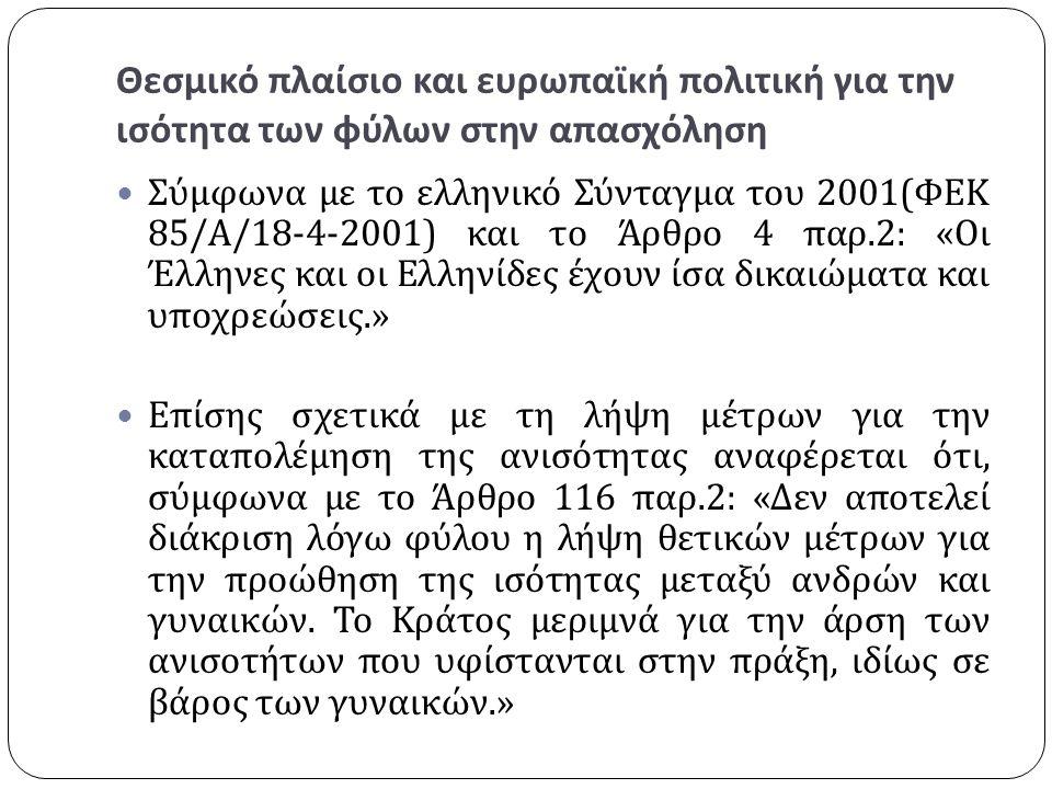 Θεσμικό πλαίσιο και ευρωπαϊκή πολιτική για την ισότητα των φύλων στην απασχόληση Σύμφωνα με το ελληνικό Σύνταγμα του 2001( ΦΕΚ 85/ Α /18-4-2001) και το Άρθρο 4 παρ.2: « Οι Έλληνες και οι Ελληνίδες έχουν ίσα δικαιώματα και υποχρεώσεις.» Επίσης σχετικά με τη λήψη μέτρων για την καταπολέμηση της ανισότητας αναφέρεται ότι, σύμφωνα με το Άρθρο 116 παρ.2: « Δεν αποτελεί διάκριση λόγω φύλου η λήψη θετικών μέτρων για την προώθηση της ισότητας μεταξύ ανδρών και γυναικών.