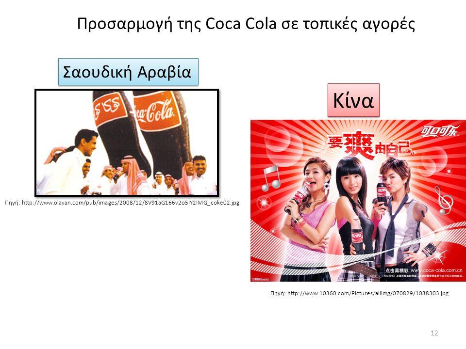 Προσαρμογή της Coca Cola σε τοπικές αγορές Πηγή: http://www.olayan.com/pub/images/2008/12/8V91aG166v2o5IY2IMG_coke02.jpg Πηγή: http://www.10360.com/Pictures/allimg/070829/1038303.jpg Σαουδική Αραβία Κίνα 12