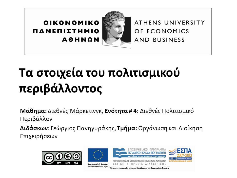 Τα στοιχεία του πολιτισμικού περιβάλλοντος Μάθημα: Διεθνές Μάρκετινγκ, Ενότητα # 4: Διεθνές Πολιτισμικό Περιβάλλον Διδάσκων: Γεώργιος Πανηγυράκης, Τμήμα: Οργάνωση και Διοίκηση Επιχειρήσεων