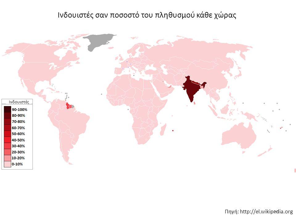 Ινδουιστές σαν ποσοστό του πληθυσμού κάθε χώρας Πηγή: http://el.wikipedia.org Ινδουιστές 26