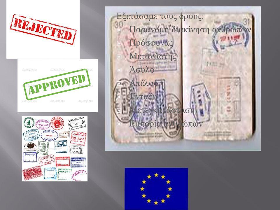 Εξετάσαμε τους όρους :  Παράνομη διακίνηση ανθρώπων  Πρόσφυγας  Μετανάστης  Άσυλο  Απέλαση  Ένταξη  Μετεγκατάσταση  Εμπορία ανθρώπων