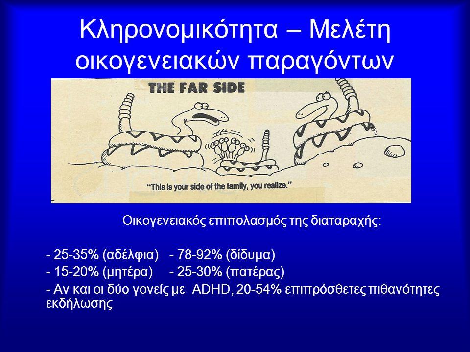 Κληρονομικότητα – Μελέτη οικογενειακών παραγόντων Οικογενειακός επιπολασμός της διαταραχής: - 25-35% (αδέλφια)- 78-92% (δίδυμα) - 15-20% (μητέρα)- 25-