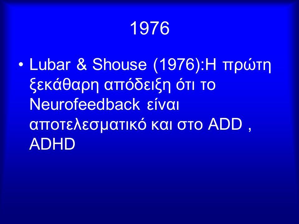 1976 Lubar & Shouse (1976):H πρώτη ξεκάθαρη απόδειξη ότι το Neurofeedback είναι αποτελεσματικό και στο ADD, ADHD
