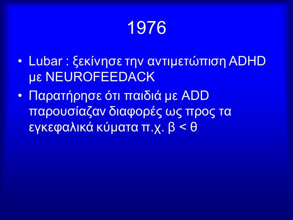 1976 Lubar : ξεκίνησε την αντιμετώπιση ΑDHD με NEUROFEEDACK Παρατήρησε ότι παιδιά με ADD παρουσίαζαν διαφορές ως προς τα εγκεφαλικά κύματα π.χ. β < θ