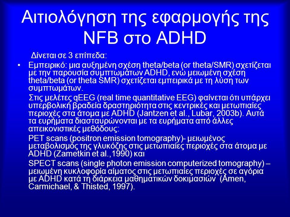 Αιτιολόγηση της εφαρμογής της NFB στο ADHD Δίνεται σε 3 επίπεδα: Εμπειρικό: μια αυξημένη σχέση theta/beta (or theta/SMR) σχετίζεται με την παρουσία συ