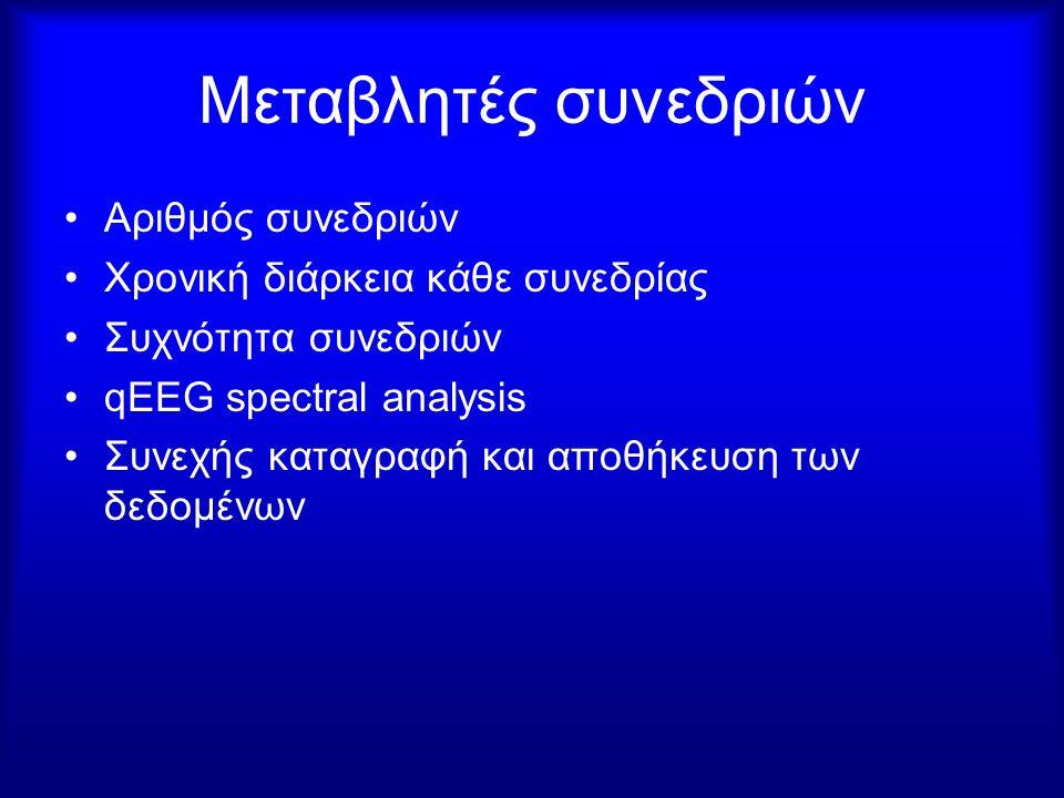 Μεταβλητές συνεδριών Αριθμός συνεδριών Χρονική διάρκεια κάθε συνεδρίας Συχνότητα συνεδριών qEEG spectral analysis Συνεχής καταγραφή και αποθήκευση των