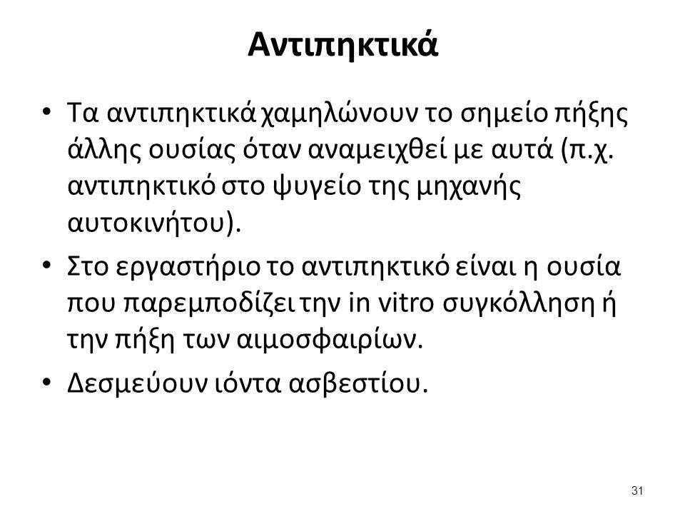 Αντιπηκτικά Τα αντιπηκτικά χαμηλώνουν το σημείο πήξης άλλης ουσίας όταν αναμειχθεί με αυτά (π.χ.