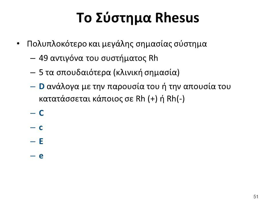 Τo Σύστημα Rhesus Πολυπλοκότερο και μεγάλης σημασίας σύστημα – 49 αντιγόνα του συστήματος Rh – 5 τα σπουδαιότερα (κλινική σημασία) – D ανάλογα με την παρουσία του ή την απουσία του κατατάσσεται κάποιος σε Rh (+) ή Rh(-) – C – c – E – e 51