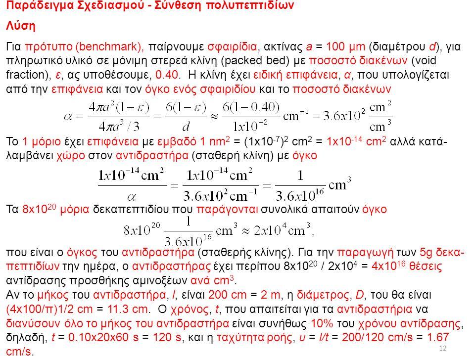 Παράδειγμα Σχεδιασμού - Σύνθεση πολυπεπτιδίων Λύση Για πρότυπο (benchmark), παίρνουμε σφαιρίδια, ακτίνας a = 100 μm (διαμέτρου d), για πληρωτικό υλικό