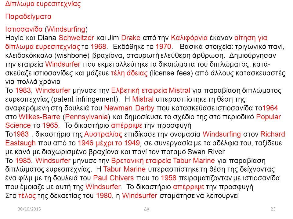30/10/2015ΔΧ23 Δίπλωμα ευρεσιτεχνίας Παραδείγματα Ιστιοσανίδα (Windsurfing) Hoyle και Diana Schweitzer και Jim Drake από την Καλιφόρνια έκαναν αίτηση