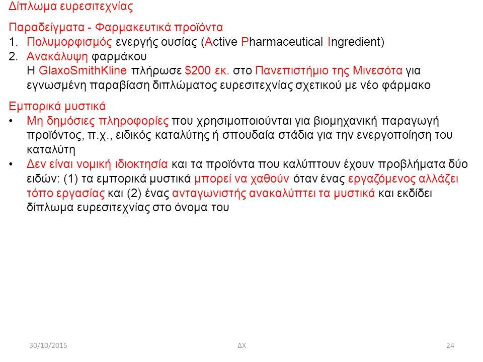30/10/2015ΔΧ24 Δίπλωμα ευρεσιτεχνίας Παραδείγματα - Φαρμακευτικά προϊόντα 1.Πολυμορφισμός ενεργής ουσίας (Active Pharmaceutical Ingredient) 2.Ανακάλυψη φαρμάκου Η GlaxoSmithKline πλήρωσε $200 εκ.