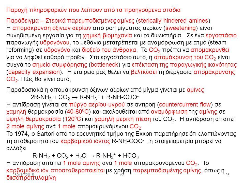 30/10/2015ΔΧ26 Παροχή πληροφοριών που λείπουν από τα προηγούμενα στάδια Παράδειγμα – Στερικά παρεμποδισμένες αμίνες (sterically hindered amines) Η απο