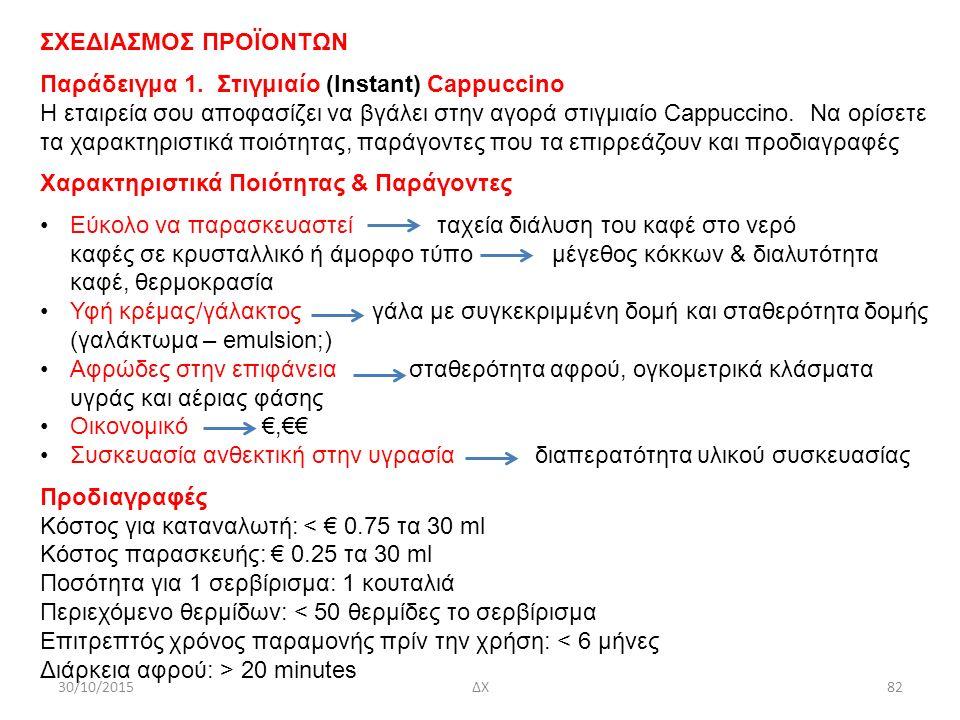 ΣΧΕΔΙΑΣΜΟΣ ΠΡΟΪΟΝΤΩΝ Παράδειγμα 1. Στιγμιαίο (Instant) Cappuccino H εταιρεία σου αποφασίζει να βγάλει στην αγορά στιγμιαίο Cappuccino. Να ορίσετε τα χ