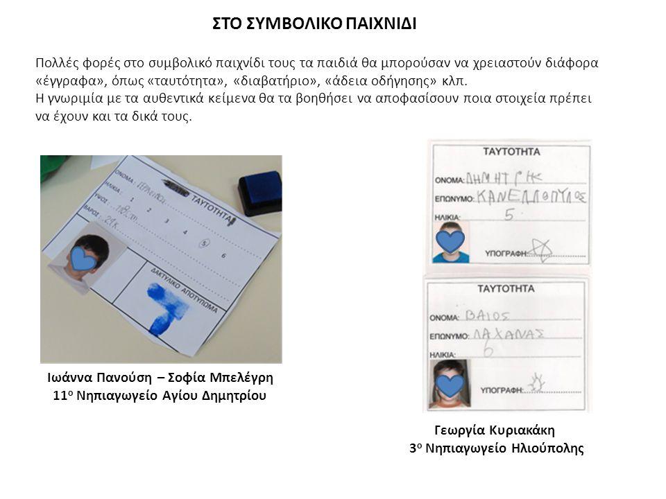 Ιωάννα Πανούση – Σοφία Μπελέγρη 11 ο Νηπιαγωγείο Αγίου Δημητρίου ΣΤΟ ΣΥΜΒΟΛΙΚΟ ΠΑΙΧΝΙΔΙ Πολλές φορές στο συμβολικό παιχνίδι τους τα παιδιά θα μπορούσαν να χρειαστούν διάφορα «έγγραφα», όπως «ταυτότητα», «διαβατήριο», «άδεια οδήγησης» κλπ.