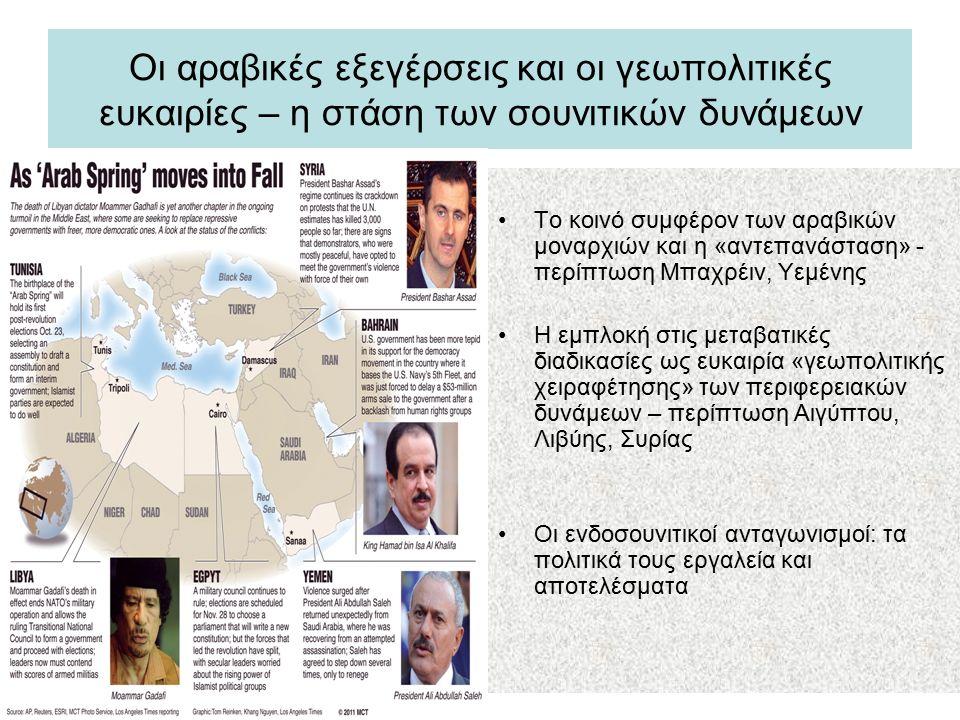 Ο αντίκτυπος του ενδοσουνιτικού ανταγωνισμού στην Αίγυπτο μετά την 25 η Γενάρη 2011 Ο άξονας Τουρκίας – Κατάρ και η Μουσουλμανική Αδελφότητα Η σαουδαραβική ενθάρρυνση μιας σύμπραξης στρατού – Σαλαφιστών κατά το πακιστανικό μοντέλο (Saudi Cables – Wikileaks) Ο συντηρητικός επαναπροσδιορισμός των κεκτημένων της Πλατείας Ταχρίρ και η μετατροπή της Αιγύπτου σε πεδίο δοκιμής της ισλαμιστικής διακυβέρνησης και της πολιτικοποίησης των Σαλαφιστών Η αποτυχία της κυβερνητικής σύμπραξης Ισλαμιστών – Σαλαφιστών