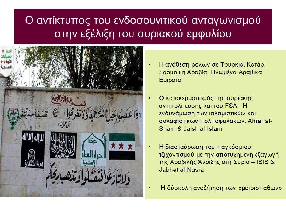 Ο αντίκτυπος του ενδοσουνιτικού ανταγωνισμού στην εξέλιξη του συριακού εμφυλίου Η ανάθεση ρόλων σε Τουρκία, Κατάρ, Σαουδική Αραβία, Ηνωμένα Αραβικά Εμ