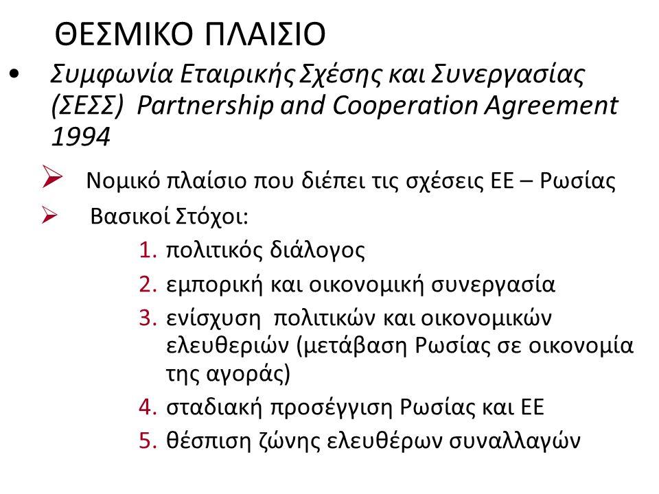 ΘΕΣΜΙΚΟ ΠΛΑΙΣΙΟ Συμφωνία Εταιρικής Σχέσης και Συνεργασίας (ΣΕΣΣ) Partnership and Cooperation Agreement 1994  Νομικό πλαίσιο που διέπει τις σχέσεις ΕΕ – Ρωσίας  Βασικοί Στόχοι: 1.πολιτικός διάλογος 2.εμπορική και οικονομική συνεργασία 3.ενίσχυση πολιτικών και οικονομικών ελευθεριών (μετάβαση Ρωσίας σε οικονομία της αγοράς) 4.σταδιακή προσέγγιση Ρωσίας και ΕΕ 5.θέσπιση ζώνης ελευθέρων συναλλαγών