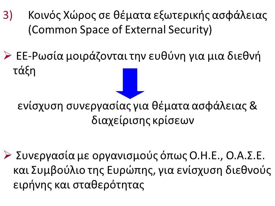 3)Κοινός Χώρος σε θέματα εξωτερικής ασφάλειας (Cοmmon Space of External Security)  ΕΕ-Ρωσία μοιράζονται την ευθύνη για μια διεθνή τάξη ενίσχυση συνεργασίας για θέματα ασφάλειας & διαχείρισης κρίσεων  Συνεργασία με οργανισμούς όπως Ο.Η.Ε., Ο.Α.Σ.Ε.