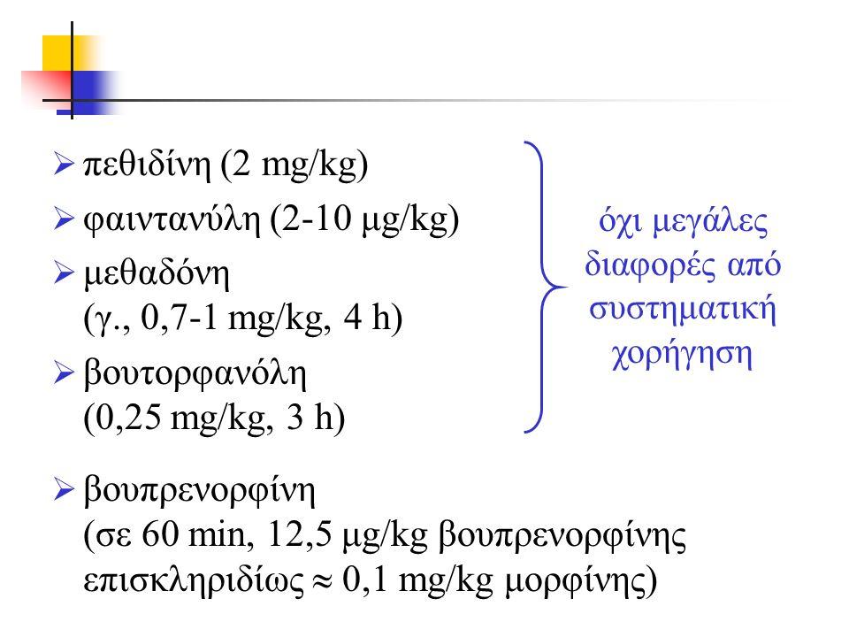  πεθιδίνη (2 mg/kg)  φαιντανύλη (2-10 μg/kg)  μεθαδόνη (γ., 0,7-1 mg/kg, 4 h)  βουτορφανόλη (0,25 mg/kg, 3 h)  βουπρενορφίνη (σε 60 min, 12,5 μg/kg βουπρενορφίνης επισκληριδίως  0,1 mg/kg μορφίνης) όχι μεγάλες διαφορές από συστηματική χορήγηση