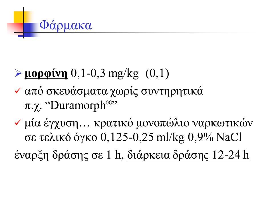  μορφίνη 0,1-0,3 mg/kg (0,1) από σκευάσματα χωρίς συντηρητικά π.χ.