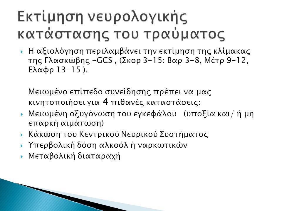  Η αξιολόγηση περιλαμβάνει την εκτίμηση της κλίμακας της Γλασκώβης -GCS, (Σκορ 3-15: Βαρ 3-8, Μέτρ 9-12, Ελαφρ 13-15 ).