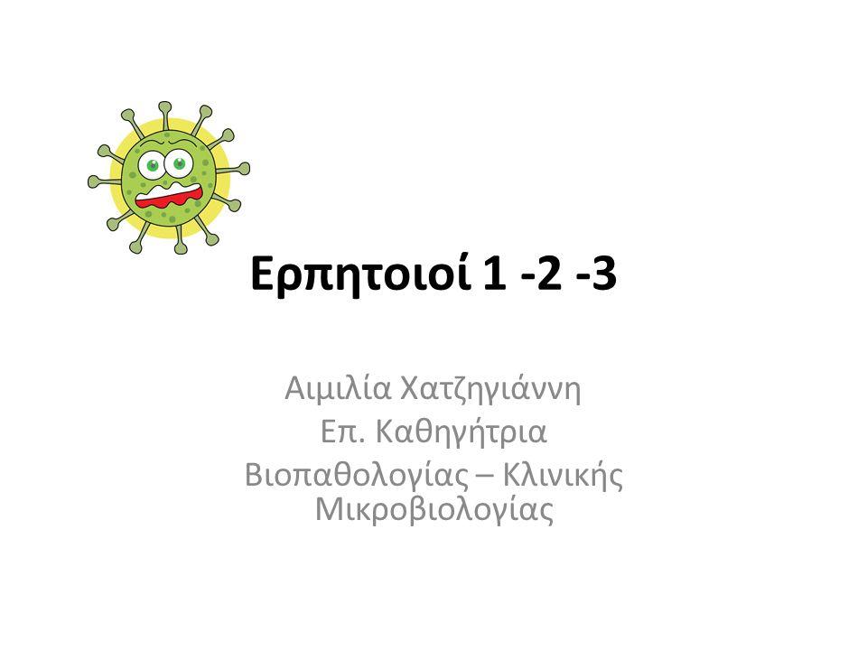 Ερπητοιοί 1 -2 -3 Αιμιλία Χατζηγιάννη Επ. Καθηγήτρια Βιοπαθολογίας – Κλινικής Μικροβιολογίας