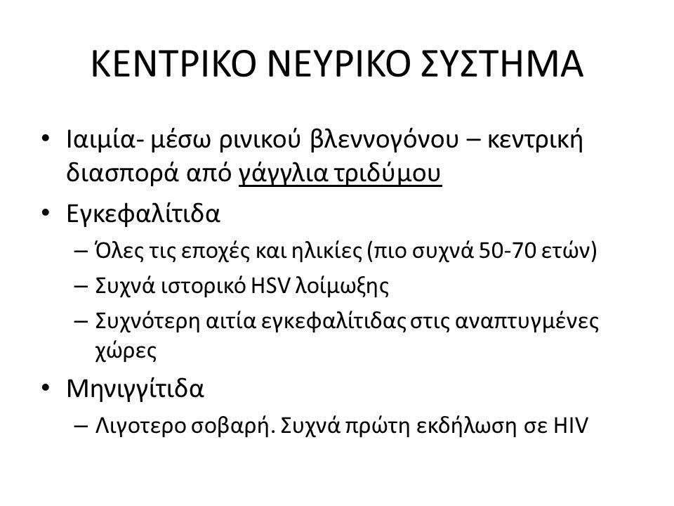 ΚΕΝΤΡΙΚΟ ΝΕΥΡΙΚΟ ΣΥΣΤΗΜΑ Ιαιμία- μέσω ρινικού βλεννογόνου – κεντρική διασπορά από γάγγλια τριδύμου Εγκεφαλίτιδα – Όλες τις εποχές και ηλικίες (πιο συχνά 50-70 ετών) – Συχνά ιστορικό HSV λοίμωξης – Συχνότερη αιτία εγκεφαλίτιδας στις αναπτυγμένες χώρες Μηνιγγίτιδα – Λιγοτερο σοβαρή.
