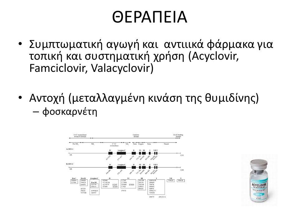 ΘΕΡΑΠΕΙΑ Συμπτωματική αγωγή και αντιιικά φάρμακα για τοπική και συστηματική χρήση (Acyclovir, Famciclovir, Valacyclovir) Αντοχή (μεταλλαγμένη κινάση της θυμιδίνης) – φοσκαρνέτη