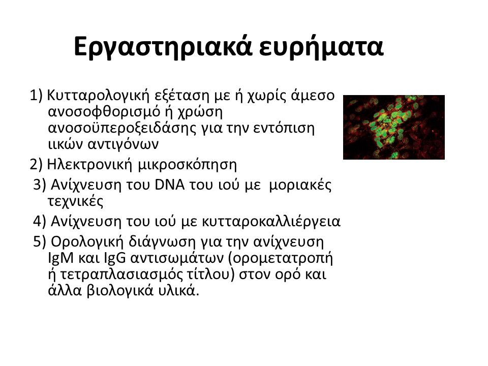 Εργαστηριακά ευρήματα 1) Κυτταρολογική εξέταση με ή χωρίς άμεσο ανοσοφθορισμό ή χρώση ανοσοϋπεροξειδάσης για την εντόπιση ιικών αντιγόνων 2) Ηλεκτρονική μικροσκόπηση 3) Ανίχνευση του DNA του ιού με μοριακές τεχνικές 4) Ανίχνευση του ιού με κυτταροκαλλιέργεια 5) Ορολογική διάγνωση για την ανίχνευση IgM και IgG αντισωμάτων (ορομετατροπή ή τετραπλασιασμός τίτλου) στον ορό και άλλα βιολογικά υλικά.