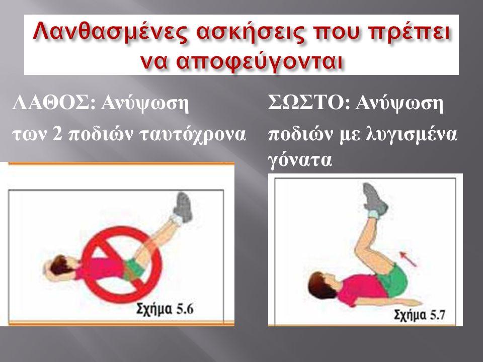 ΛΑΘΟΣ : Ανύψωση ΣΩΣΤΟ : Ανύψωση των 2 ποδιών ταυτόχρονα ποδιών με λυγισμένα γόνατα