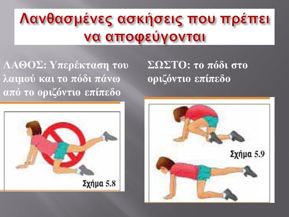 ΛΑΘΟΣ : Υπερέκταση του λαιμού και το πόδι πάνω από το οριζόντιο επίπεδο ΣΩΣΤΟ : το πόδι στο οριζόντιο επίπεδο