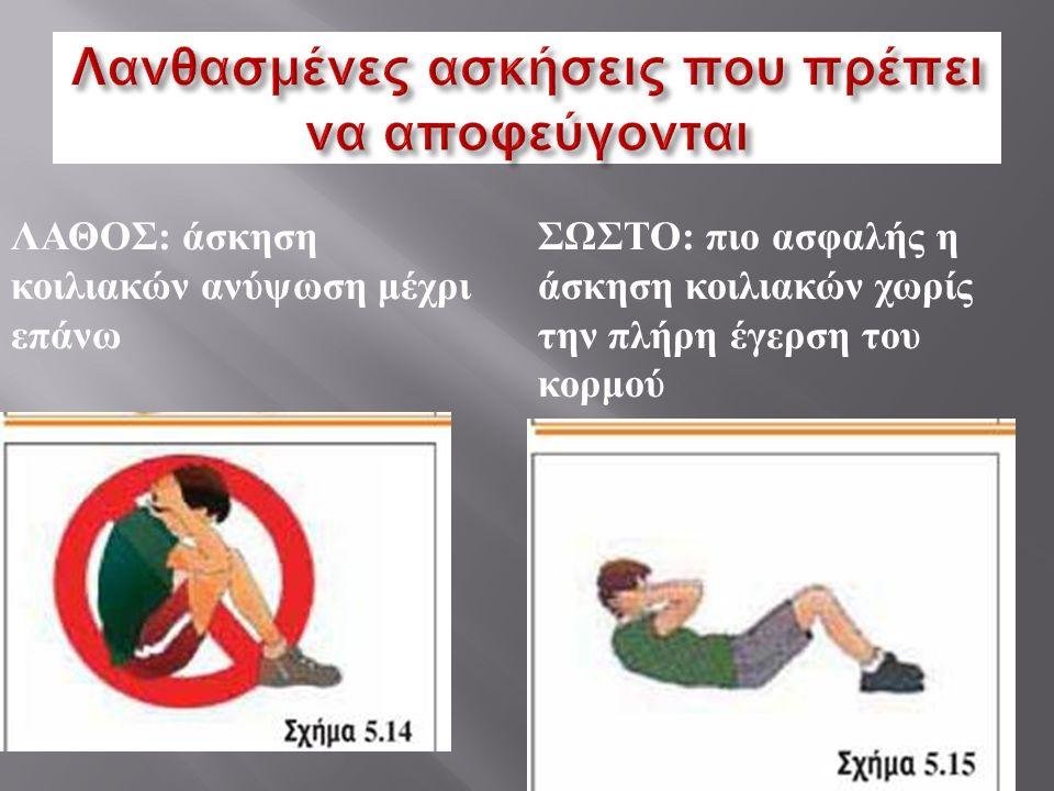 ΛΑΘΟΣ : άσκηση κοιλιακών ανύψωση μέχρι επάνω ΣΩΣΤΟ : πιο ασφαλής η άσκηση κοιλιακών χωρίς την πλήρη έγερση του κορμού