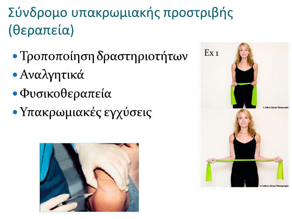 Σύνδρομο υπακρωμιακής προστριβής (θεραπεία) Τροποποίηση δραστηριοτήτων Αναλγητικά Φυσικοθεραπεία Υπακρωμιακές εγχύσεις