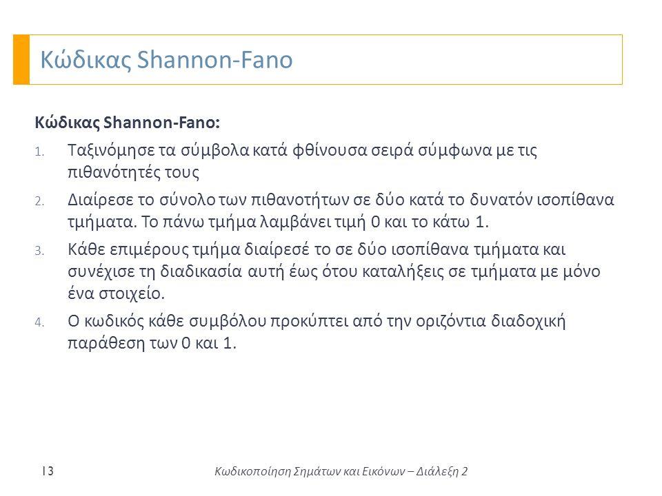 Κώδικας Shannon-Fano 13 Κώδικας Shannon-Fano : 1.
