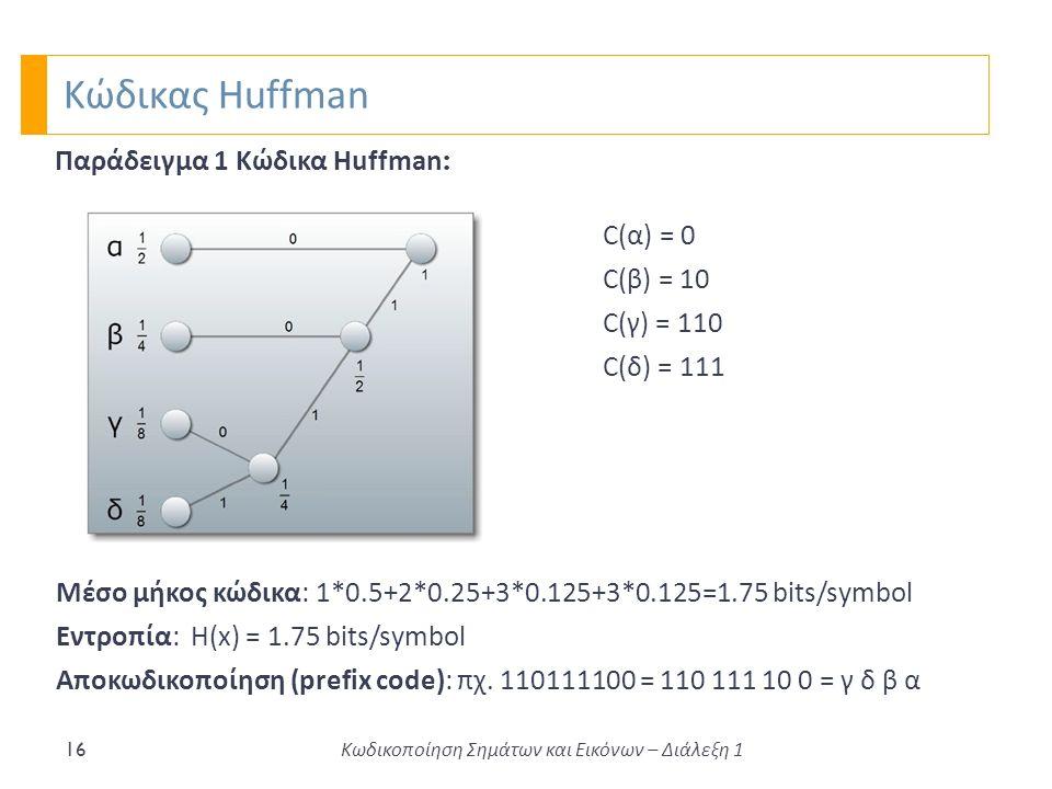 Κώδικας Huffman 16 Κωδικοποίηση Σημάτων και Εικόνων – Διάλεξη 1 Παράδειγμα 1 Κώδικα Huffman : Μέσο μήκος κώδικα: 1*0.5+2*0.25+3*0.125+3*0.125=1.75 bits/symbol Εντροπία: Η(x) = 1.75 bits/symbol Αποκωδικοποίηση (prefix code): πχ.