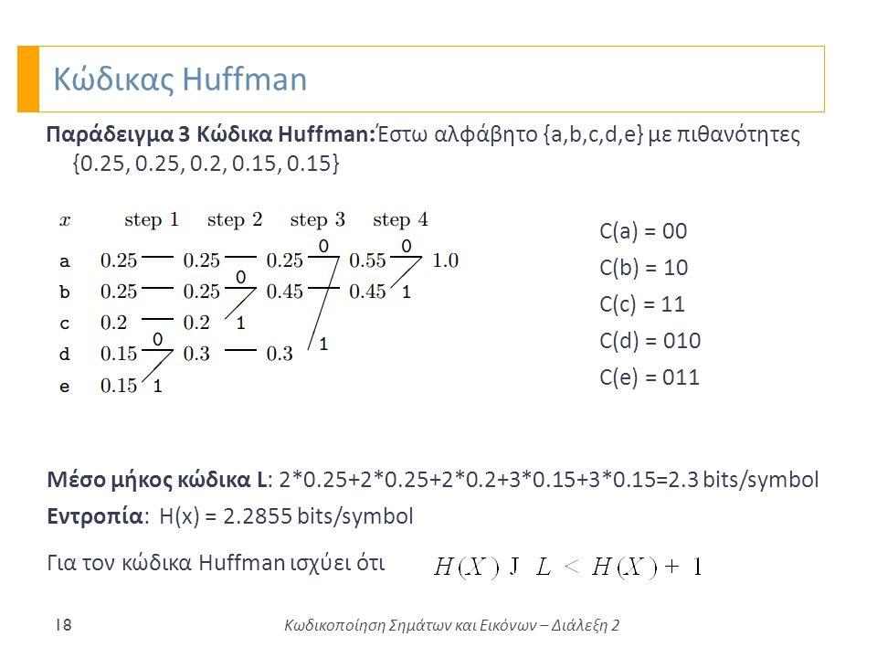 Κώδικας Huffman 18 Παράδειγμα 3 Κώδικα Huffman : Έστω αλφάβητο {a,b,c,d,e} με πιθανότητες {0.25, 0.25, 0.2, 0.15, 0.15} Μέσο μήκος κώδικα L: 2*0.25+2*0.25+2*0.2+3*0.15+3*0.15=2.3 bits/symbol Εντροπία: Η(x) = 2.2855 bits/symbol C(a) = 00 C(b) = 10 C(c) = 11 C(d) = 010 C(e) = 011 Για τον κώδικα Huffman ισχύει ότι Κωδικοποίηση Σημάτων και Εικόνων – Διάλεξη 2