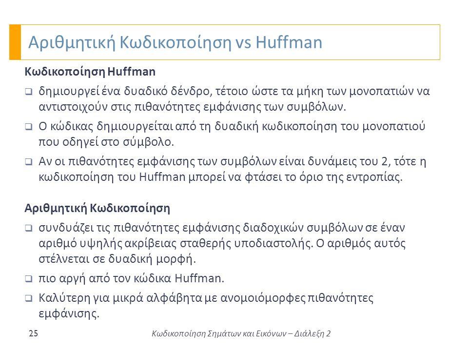 Αριθμητική Κωδικοποίηση vs Huffman 25 Κωδικοποίηση Huffman  δημιουργεί ένα δυαδικό δένδρο, τέτοιο ώστε τα μήκη των μονοπατιών να αντιστοιχούν στις πιθανότητες εμφάνισης των συμβόλων.
