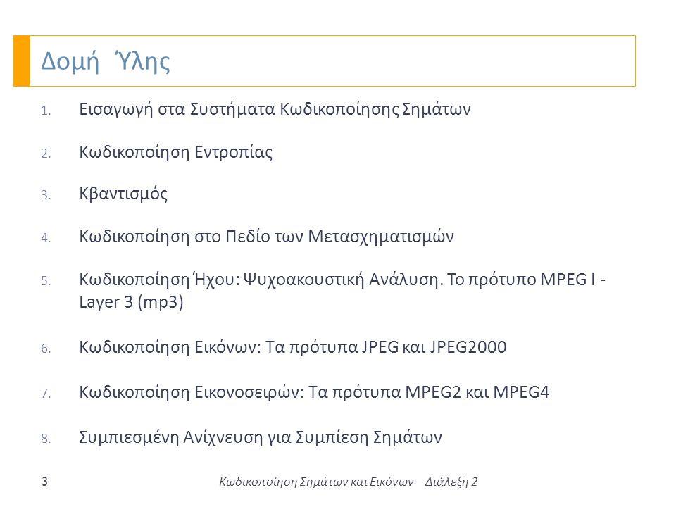 Δομή Ύλης 1. Εισαγωγή στα Συστήματα Κωδικοποίησης Σημάτων 2.