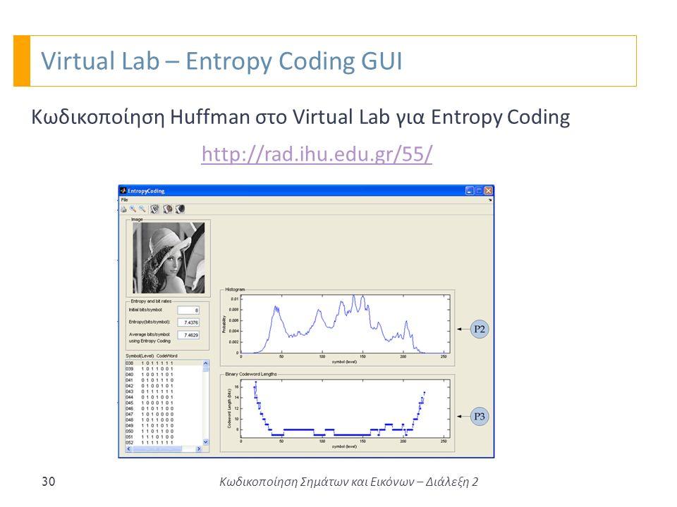 Virtual Lab – Entropy Coding GUI 30 Κωδικοποίηση Huffman στο Virtual Lab για Entropy Coding Κωδικοποίηση Σημάτων και Εικόνων – Διάλεξη 2 http://rad.ihu.edu.gr/55/