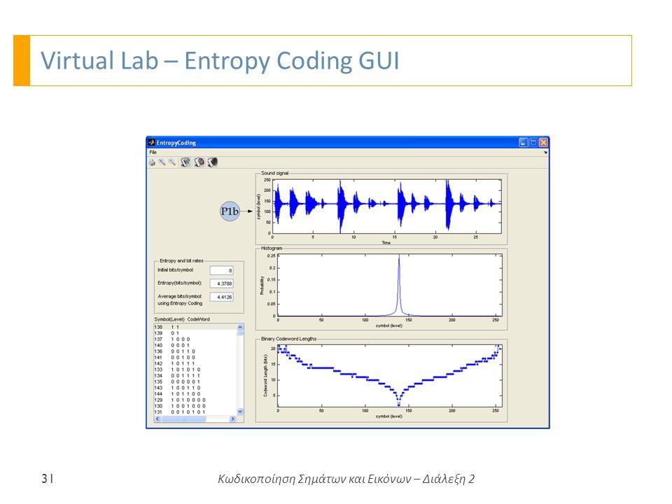 Virtual Lab – Entropy Coding GUI 31 Κωδικοποίηση Σημάτων και Εικόνων – Διάλεξη 2
