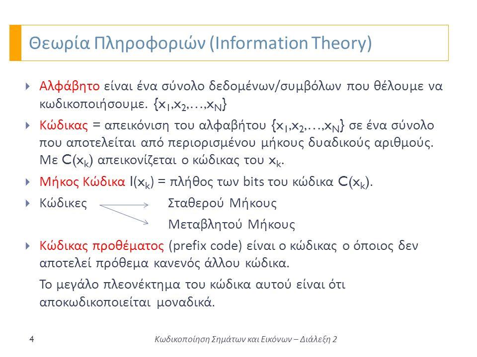 Θεωρία Πληροφοριών (Information Theory) 4  Αλφάβητο είναι ένα σύνολο δεδομένων / συμβόλων που θέλουμε να κωδικοποιήσουμε.