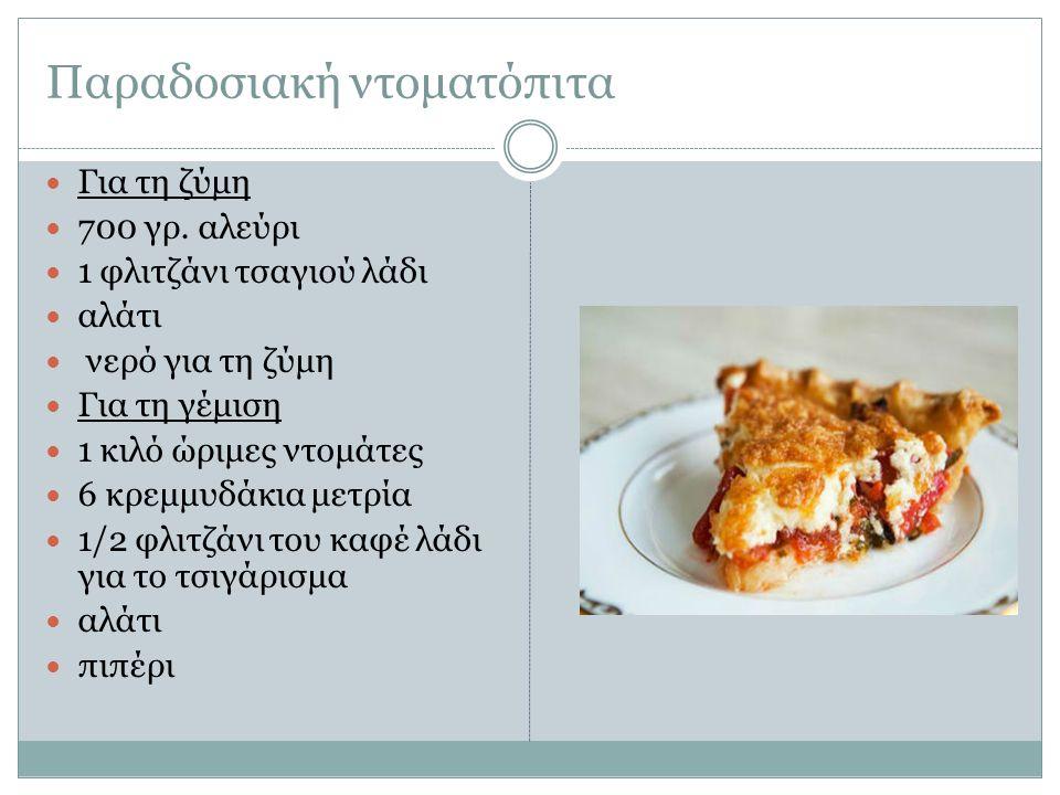 Παραδοσιακή ντοματόπιτα Για τη ζύμη 700 γρ. αλεύρι 1 φλιτζάνι τσαγιού λάδι αλάτι νερό για τη ζύμη Για τη γέμιση 1 κιλό ώριμες ντομάτες 6 κρεμμυδάκια μ
