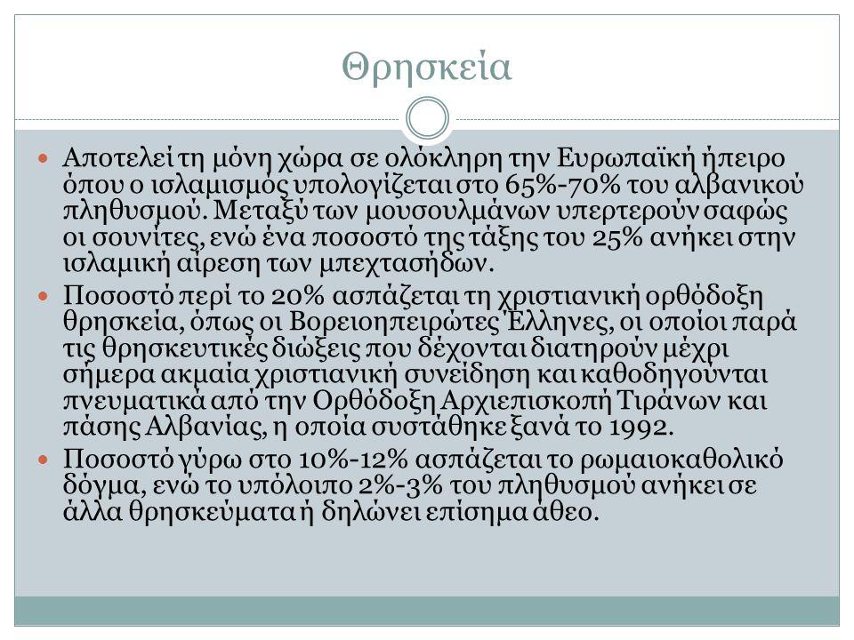 Γλώσσα Η κυρίαρχη γλώσσα είναι η Αλβανική.