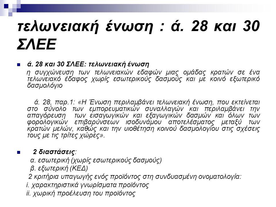 τελωνειακή ένωση : ά. 28 και 30 ΣΛΕΕ ά.