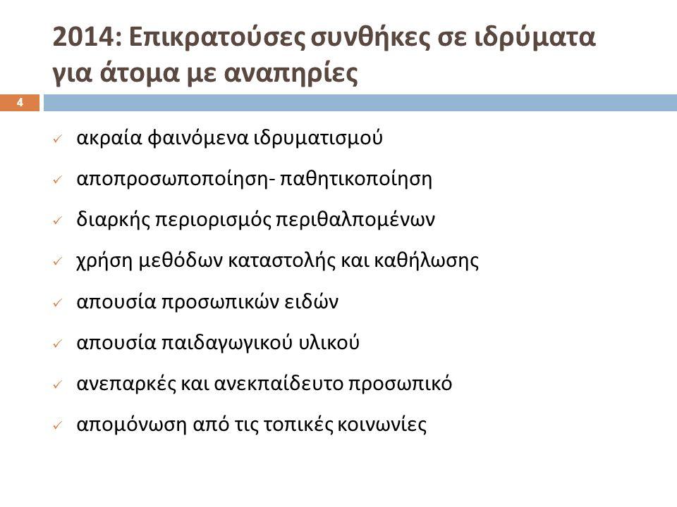 2014: Επικρατούσες συνθήκες σε ιδρύματα για άτομα με αναπηρίες ακραία φαινόμενα ιδρυματισμού αποπροσωποποίηση - παθητικοποίηση διαρκής περιορισμός περιθαλπομένων χρήση μεθόδων καταστολής και καθήλωσης απουσία προσωπικών ειδών απουσία παιδαγωγικού υλικού ανεπαρκές και ανεκπαίδευτο προσωπικό απομόνωση από τις τοπικές κοινωνίες 4